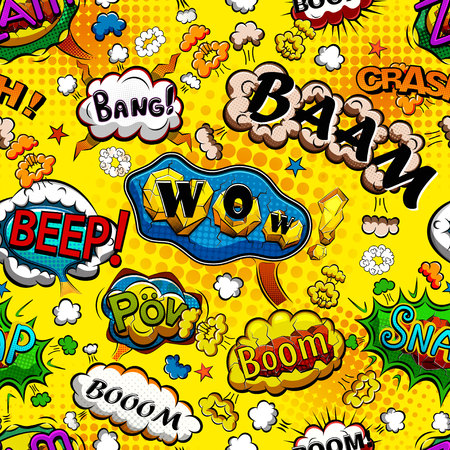 Comic speech bubbles seamless pattern with yellow background vector