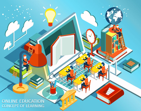 books library: Online education Isometric flat design. The concept of learning and reading books in the library and in the classroom. University studies. Vector illustration