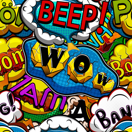 色とりどりの漫画演説泡のシームレスなパターン ベクトル イラスト