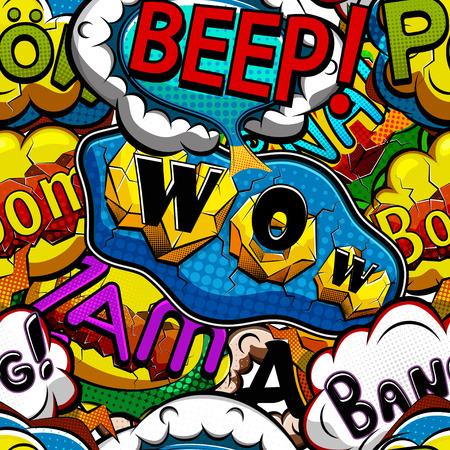 Multicolored comics speech bubbles seamless pattern vector illustration Vectores