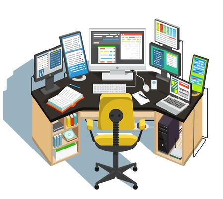 Programmer workplace. Vector illustration