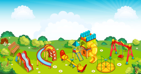 Playground on the meadow. Vector illustration.