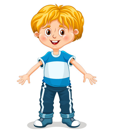 one child: Cute little boy is doing exercises vector illustration