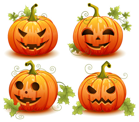 Pumpkin set for Halloween on a white background vector illustration