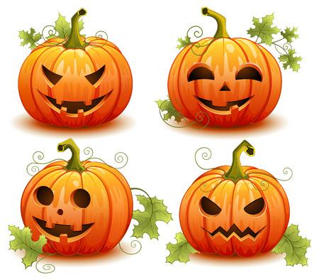 Pompoen set voor Halloween op een witte achtergrond vector illustratie