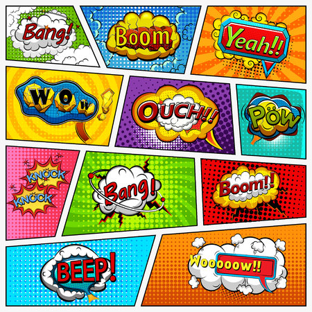 cartoon bubble: Comic book page background divided by lines. Retro background mock-up and sound effect. Comics template. Vector illustration Illustration