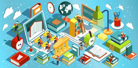 L'éducation en ligne isométrique design plat. Le concept de l'apprentissage et la lecture de livres dans la bibliothèque et dans la salle de classe. Études universitaires. Vector illustration