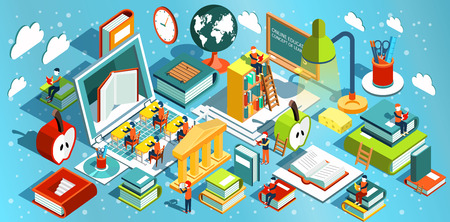 Online education Isometric flat design. The concept of learning and reading books in the library and in the classroom. University studies. Vector illustration