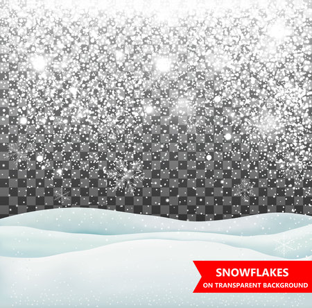 drifts: The falling snow and drifts on a transparent background. Snowfall. Christmas. Snowflakes and snow drifts. Snowflake vector illustration