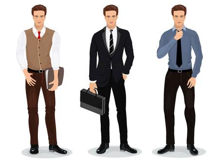 stylish men: Men in stylish clothes et of businessmen.