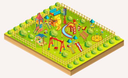 Children playground isometric. Relaxation area. Vector illustration