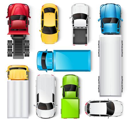Auto's en vrachtwagens bovenaanzicht