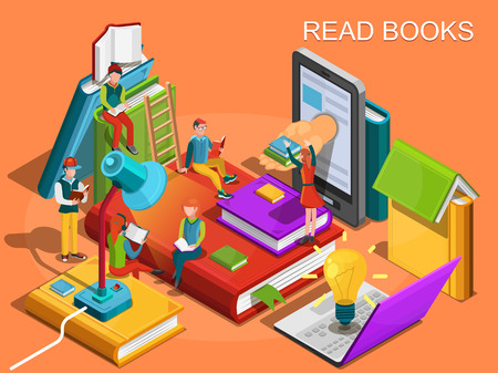 Online library. The process of education, the concept of learning and reading books in the library. University studies. Reading people isometric flat design. Vector illustration Vectores