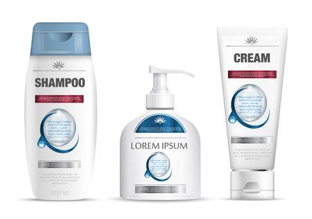Shampoo verpakking, crème buis, zeep fles sjabloon ontwerp. Cosmetische merk template. Lichaamsverzorgingsproducten.