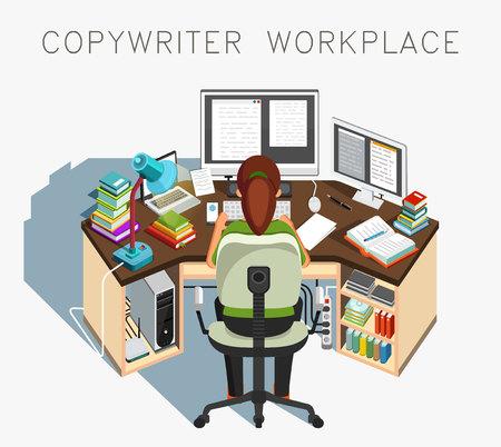 journalistic: Copywriter workplace. Writer at work. Journalistic activity.
