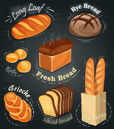 white bread: Advertising bakery on the chalkboard. Set of bakery products. Menu. Long loaf, rye bread, baguette, rolls, white bread, sliced ??bread, brioche. Vector illustration