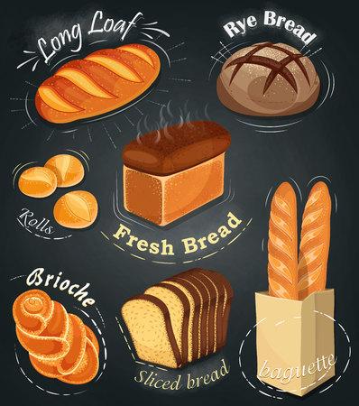 Advertising bakery on the chalkboard. Set of bakery products. Menu. Long loaf, rye bread, baguette, rolls, white bread, sliced ??bread, brioche. Vector illustration
