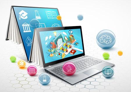 本としてのノート パソコン。学習のコンセプトです。オンライン教育。ベクトル図