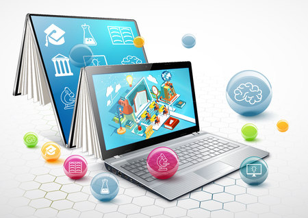 Laptop as a book. The concept of learning. Online education. Vector Illustration Vectores