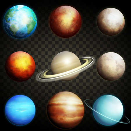 Planets of the solar system isolated on a transparent background. Set of realistic planets