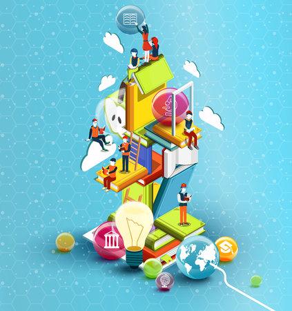 Een toren van boeken met lezende mensen. Educatief concept. Online bibliotheek. Online onderwijs isometrisch vlak ontwerp op blauwe achtergrond. Vector illustratie