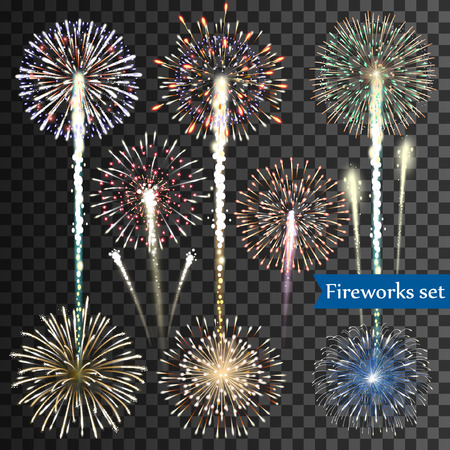 pyrotechnic: Set of isolated vector fireworks on transparent background Illustration