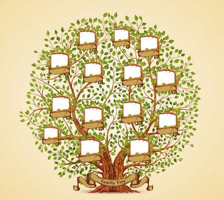 家系図のテンプレート ビンテージ ベクトル図  イラスト・ベクター素材
