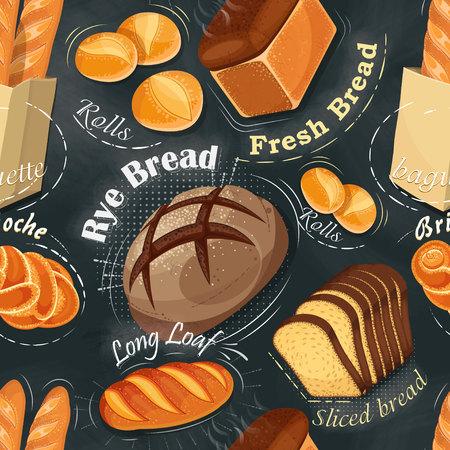 Bakery seamless pattern. Long loaf, rye bread, baguette, rolls, white bread, sliced ??bread, brioche. Vector illustration
