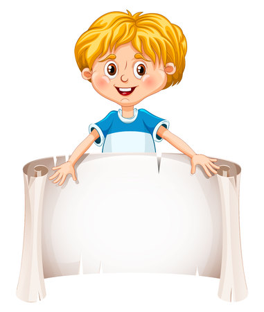 little one: Little boy holding a blank sheet. Vector illustration