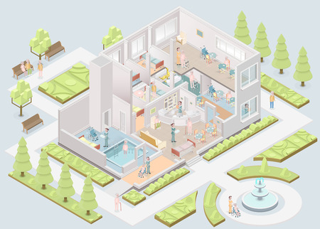 Nursing home. Assisted-living facility. Vector illustration Çizim