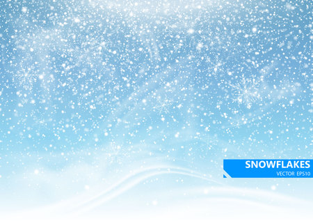 Falling snow on a blue background. Snowstorm and snowflakes. Background for winter holidays. Vector Illustration.