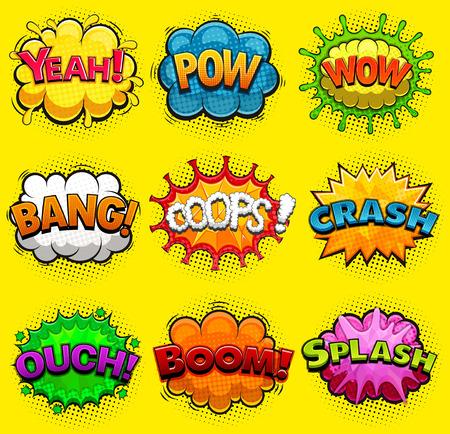Multicolored comic speech bubbles sound effects. Vector