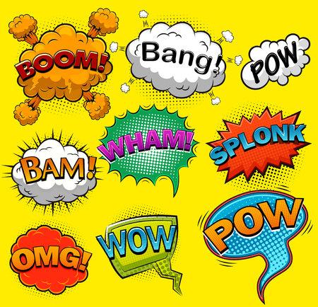 Comic speech bubbles. Sound effects. Vector illustration Stock Illustratie