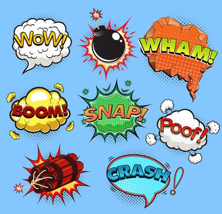 Comic speech bubbles. Sound effects vector illustration.