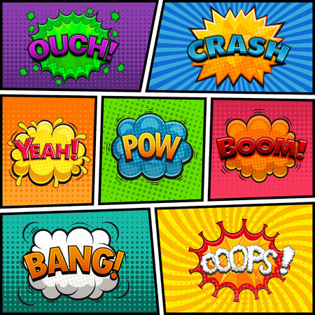 Comic speech bubbles with words colorful set. Stock fotó - 97502905