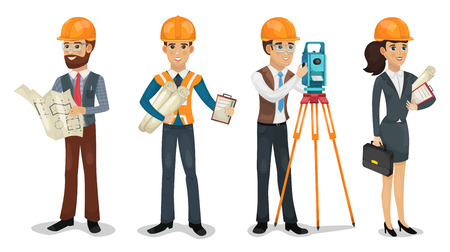 Set of cartoon characters. Civil engineer, surveyor, architect and construction workers isolated vector illustration.