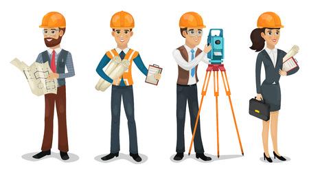 Zestaw postaci z kreskówek. Inżynier budownictwa, geodeta, architekt i pracownicy budowlani na białym tle ilustracji wektorowych.