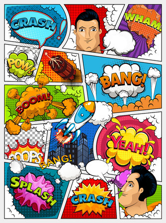 Comic book page layout. Comics template. Retro background mock-up. Divided by lines with speech bubbles, city, rocket, superhero and sounds effect. Vector illustration.