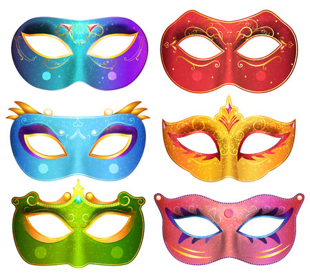Face masks collection for masquerade party carnival masks vector illustration