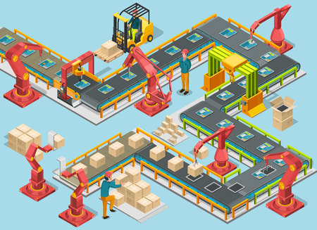 Automatic factory with conveyor line and robotic arms. Assembly process. Vector illustration