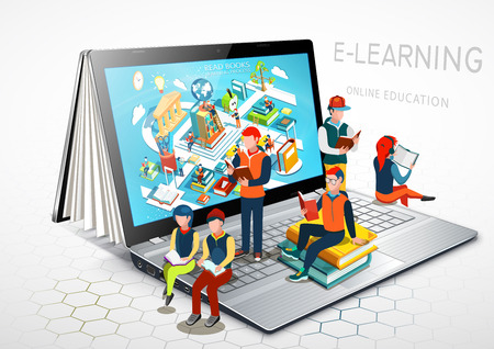 Laptop as a book. The concept of learning. Online education. E-learning. Vector Illustration Ilustração