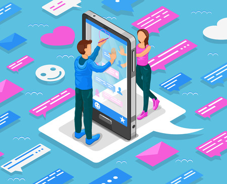 Online dating isometric concept. Teenagers chat through smartphone. Vector illustration