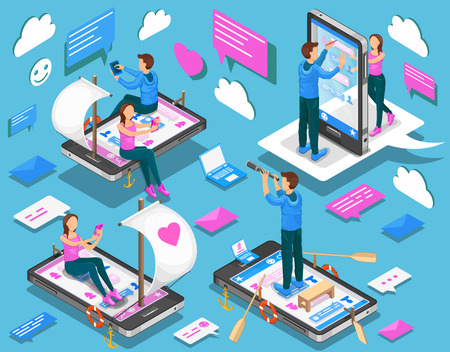 Virtual relationships and online dating isometric concept. Vector illustration