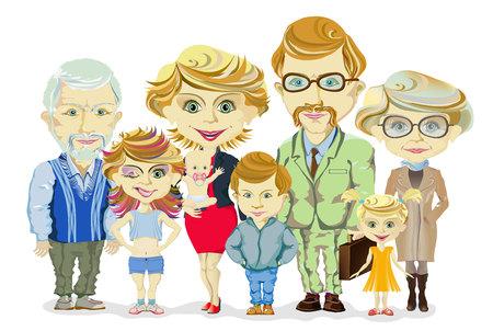 Big and happy family portrait with children, parents, grandparents vector illustration