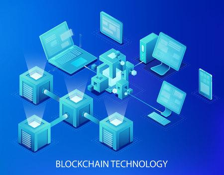 Blockchain technology vector illustration 向量圖像