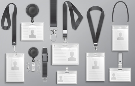 Set of realistic business identification cards on black lanyards with strap clips, cord and clasps vector illustration