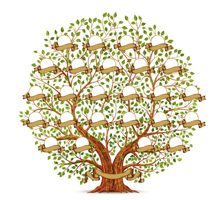 Family Tree template vintage Illustration