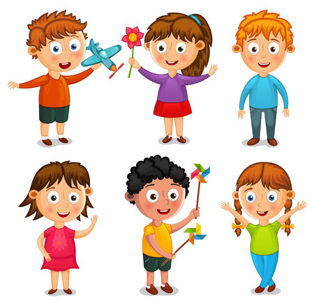 Group of happy kids cartoon vector illustration