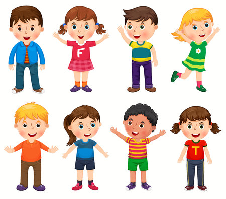 Happy children in different positions vector illustration