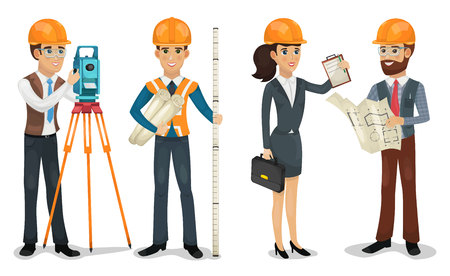 Civil engineer, surveyor, architect and construction workers isolated vector illustration. Banco de Imagens - 109552328